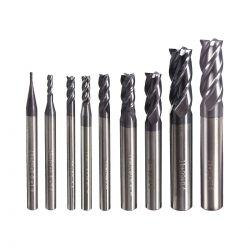 Drillpro 4 Flutes Tungsten Carbide End Mill Set Straight Shank CNC tool 1MM-10MM